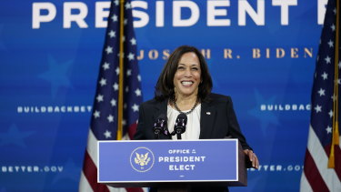 Vice President-elect Kamala Harris speaks as she and President-elect Joe Biden introduce their nominees and appointees to economic policy posts last week.