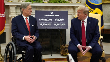 US President Donald Trump speaks during a meeting about the coronavirus response with Texas Governor Greg Abbott.