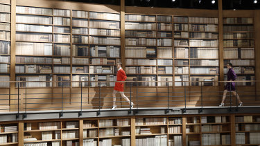 The library setting for the Chanel show.