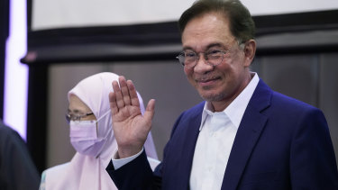Malaysia's Opposition Leader Anwar Ibrahim after a press conference in Kuala Lumpur on Wednesday.