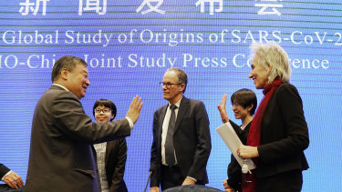 The World Health Organisation team say farewell to their Chinese counterparts after the WHO-China Joint Study Press Conference on Tuesday.