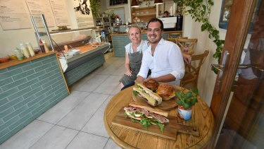 Amelie and Emmanuel Taborda inside their Mr Sandwich store on Hay Street in Perth.