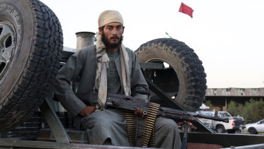 A Taliban fighter patrols in Kabul, Afghanistan.