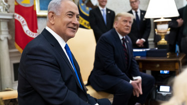 Benjamin Netanyahu, Israel's Prime Pinister, meets with US President Donald Trump in the Oval Office of the White House in Washington, DC.