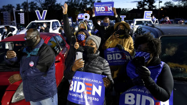 Biden supports in Pittsburgh, Pennsylvania earlier today (Monday, US time).