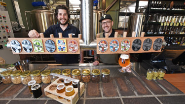 Otherside head brewer Rhys Lopez and Freo.Social group venue manager Matt Marinich.