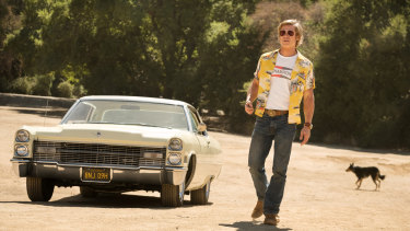Brad Pitt in Once Upon a Time... in Hollywood, with his shirt on
