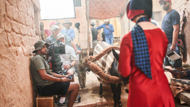 Davis and the crew on the streets of Morocco's Ouarzazate, where part of Miss Fisher and the Crypt of Tears was filmed.