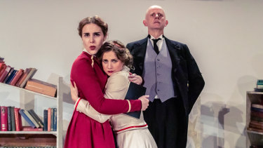 L-R: Gabrielle Sing as Cecily, Joanna Harrison as Gwendolen and Tref Gare as Bennett in Travesties.