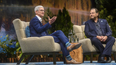 Tim Cook and Marc Benioff at Salesforce's Dreamforce conference in San Francisco.