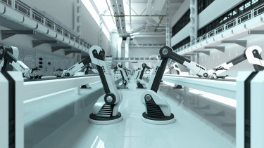 No humans on the factory floor: a modern-day assembly line.