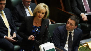 Opposition minister for arts and culture Heidi Victoria with Opposition Leader Matthew Guy.
