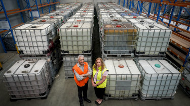 David Barry Logistics operations director Stephen Campbell and CEO Sonya Constantine in front of toxic waste sent to their storage facility by Bradbury Industrial Services in January 2020.