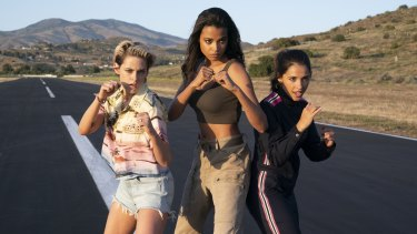 Kristen Stewart, Ella Balinska and Naomi Scott in Charlie's Angels.