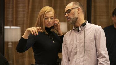 Succession creator Jesse Armstrong (right) with actress Sarah Snook.