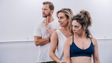 Choreographer Amy Campbell (middle) with Tim Draxl and Angelique Cassimatis during rehearsals for A Chorus Line.