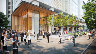 An artist's impression of the newly approved 42-storey North Sydney office tower above Victoria Cross Metro Station.