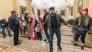 Protesters inside the Capitol building.