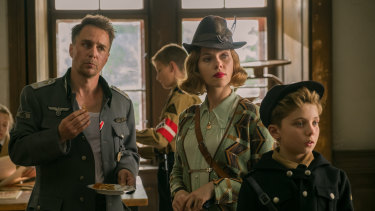 Sam Rockwell (left), Scarlett Johansson and Roman Griffin Davis in JoJo Rabbit.