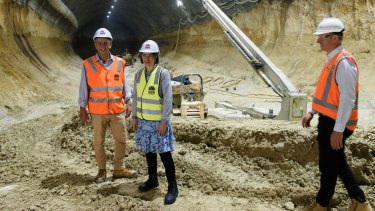 Unfinished business: Minister Andrew Constance and Premier Gladys Berejiklian inspecting the tunnel at Barangaroo.