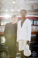 Albus Lumen designer Marina Afonina with a model wearing one of the designs in her entry for the International Woolmark Prize final, to be decided on Saturday in London.