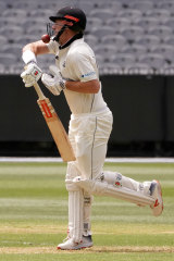 Ouch: Shaun Marsh was struck on the helmet in the shield match at the MCG, one of a number of deliveries to cause concern.