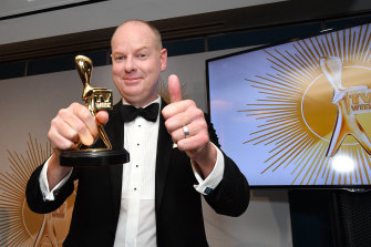 Tom Gleeson with his 2019 Gold Logie.