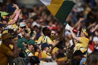 Australian fans cheer during the International friendly match.