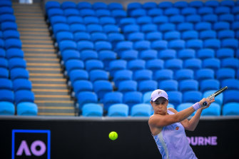 Ash Barty plays Ekaterina Alexandrova in an empty Margaret Court arena last Saturday because of the stage-four lockdown in Victoria.