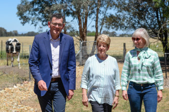 Andrews with his mother Jan, and wife Catherine, at Jan's farm in Wangaratta.