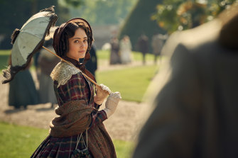 Ella Purnell in a scene from Julian Fellowes' show Belgravia, which is set in the early 1800s.
