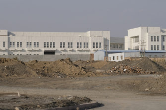 A re-education camp, officially known as a vocational education and training centre, on the outskirts of Turpan City, Xinjiang.