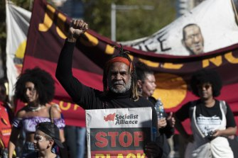 A rally in Sydney in April to protest against Indigenous deaths in custody.