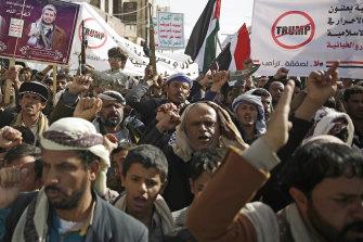 Yemeni Shiite Houthis protest against US President Donald Trump in Sanaa, Yemen, in January.