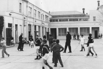 The courtyard of St Vincent de Paul Boys' Home in South Melbourne in 1970.