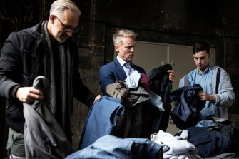 Wood, centre, with doctor and TV presenter Andrew Rochford and comedian Ciaran Lyons prepare to trade their comfortable existence for life on the streets.