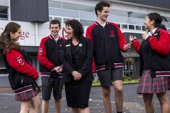 Glen Eira College principal Sheereen Kindler with senior students (from left) Aimee Harris, Alexander Leathley, Joseph Folwell and Alannah De Jesus.