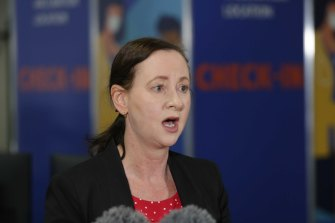 Queensland Health Minister Yvette D'Ath at the Brisbane Entertainment Centre vaccination site at Boondall.