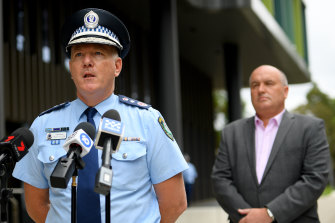 NSW Police Commissioner Mick Fuller, left, and NSW Police Minister David Elliott.