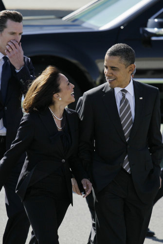 With her friend Barack Obama.