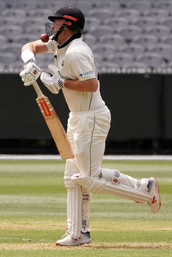 Shaun Marsh is struck on the helmet on day one of a Sheffield Shield match between Victoria and WA. A different strip will be used for the Boxing Day Test.