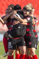 Leena Khamis of the Wanderers celebrates scoring.