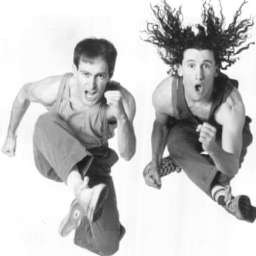 "The Umbilical Brothers in 1994. Their high-energy physical comedy was once described by The Sydney Morning Herald as ""Marcel Marceau on really good drugs""."