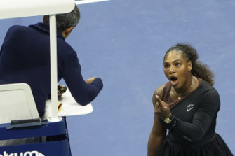Serena Williams argues with the chair umpire during the US Open in 2018.