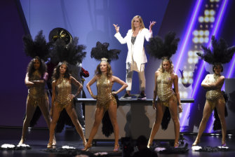 Samantha Bee, top, performs on stage at the 71st Primetime Emmy Awards.