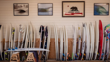 Boards line one wall at the Surf Ranch in California, which is hosting four days of competition involving the world's best surfers.