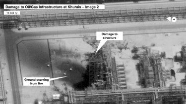Damage to the infrastructure at at Saudi Aramco's Kuirais oil field in Buqyaq, Saudi Arabia.