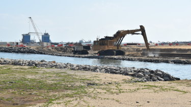 Construction work at the Port City Colombo reclamation site.