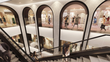 An artist's impression of the new womenswear department at the redeveloped David Jones store in Elizabeth Street, Sydney, which will open in September.