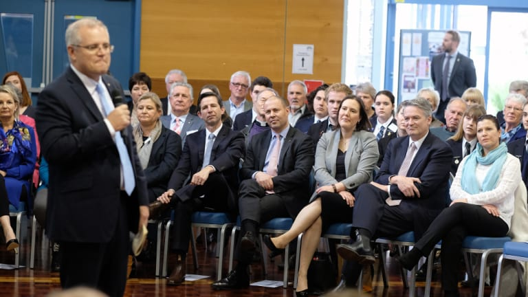 Mr Morrison preaches to the faithful, including a number of Liberal frontbenchers.